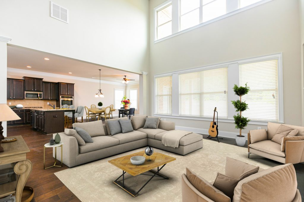 A living room in a home at The Landing at Millers Ferry